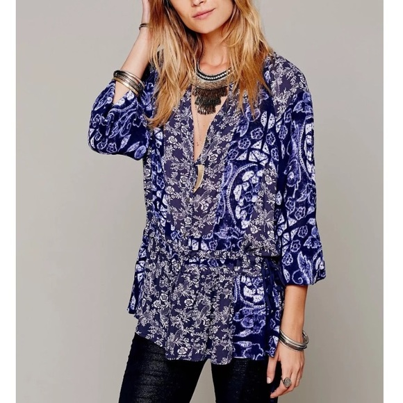 Free People Tops - FREE PEOPLE Woven Tunic Intricate Draped Pullover 51a194129